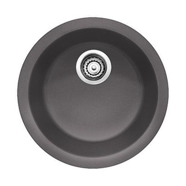 Blanco Rondo 17.75-in x 17.75-in x 6.50-in Cinder Silgranit Single Bowl Kitchen Sink