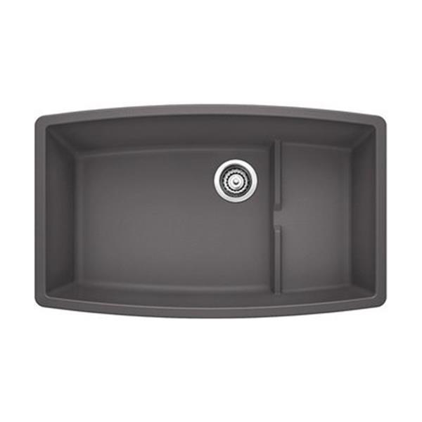 Blanco Cascade 32-in x 19.50-in x 10-in Cinder Silgranit Double Offset Bowl Undermount Kitchen Sink