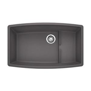 Blanco Cascade 32-in x 19.50-in x 10-in Cinder Silgranit Double Offset Bowl Undermount Kitchen Sink