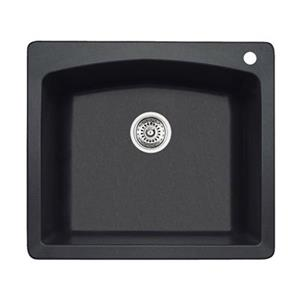 Blanco Diamond 25-in x 22-in x 10-in Anthracite Silgranit Kitchen Sink