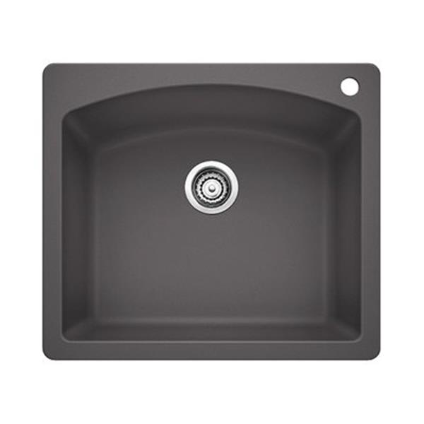 Blanco Diamond 25-in x 22-in x 10-in Cinder Silgranit Kitchen Sink