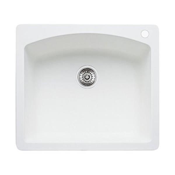 Blanco Diamond 25-in x 22-in x 10-in White Silgranit Kitchen Sink