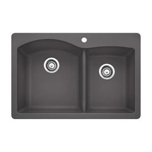 Blanco Diamond 33-in x 22-in x 9.50-in Cinder Silgranit Double Offset Bowl Kitchen Sink