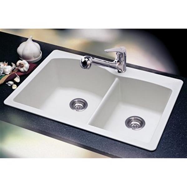 Blanco Diamond 33-in x 22-in x 9.50-in White Silgranit Double Offset Bowl Kitchen Sink