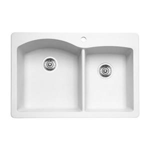 Blanco Diamond 33-in x 22-in x 9.50-in White Silgranit Double Offset Bowl Kitchen Sink