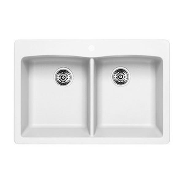 Blanco Diamond 33-in x 22-in x 9.50-in White Silgranit Undermount Double Equal Bowl