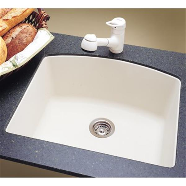 Blanco Diamond 20.75-in x 24-in White Silgranit Kitchen Sink