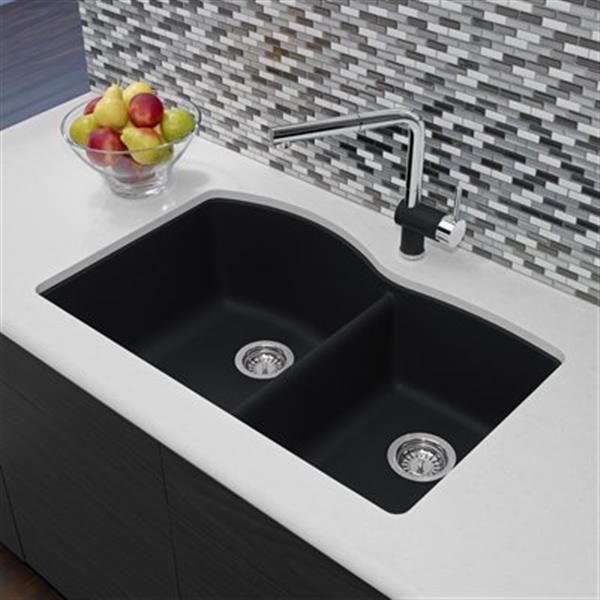 Blanco Diamond 20.75-in x 32-in Anthracite Silgranit Offset Kitchen Sink