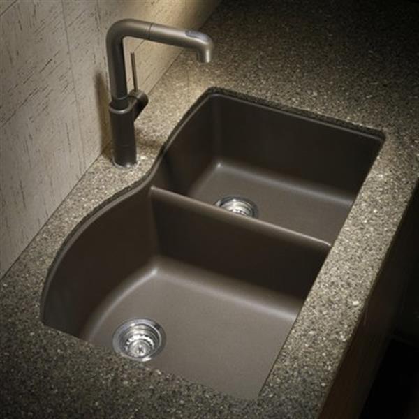 Blanco Diamond 20.75-in x 32-in Cafe Silgranit Offset Kitchen Sink