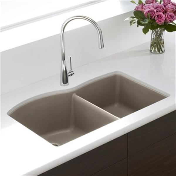 Blanco Diamond 20.75-in x 32-in Truffle Silgranit Offset Kitchen Sink