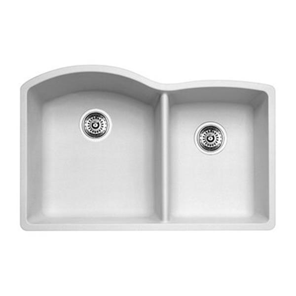 Blanco Diamond 20.75-in x 32-in White Silgranit Offset Kitchen Sink