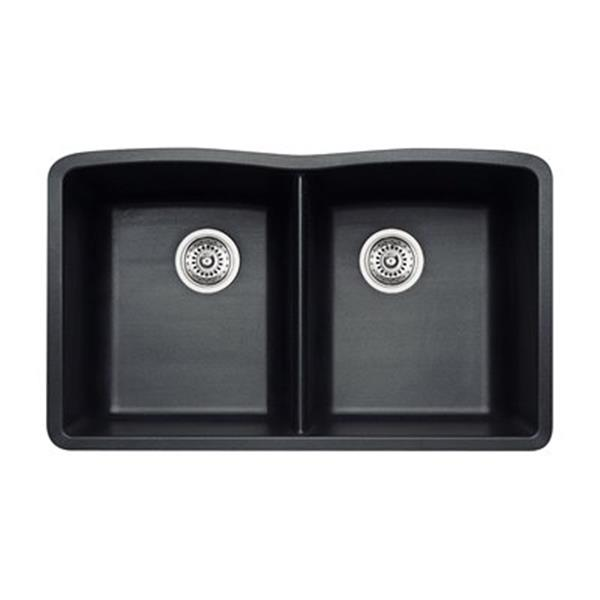 Blanco Diamond 19.25-in x 32-in Anthracite Silgranit Kitchen Sink