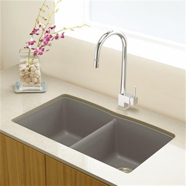Blanco Diamond 19.25-in x 32-in Truffle Silgranit Double Bowl Kitchen Sink