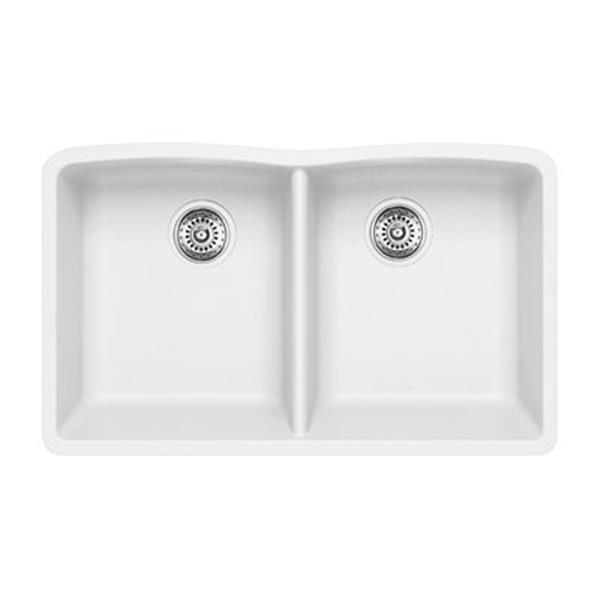Blanco Diamond 19.25-in x 32-in White Silgranit Double Bowl Kitchen Sink