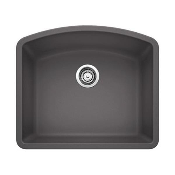 Blanco Diamond 20.75-in x 24-in Cinder Silgranit Kitchen Sink