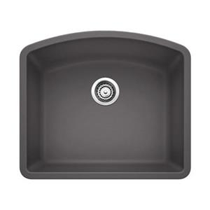 BLANCO Diamond 20.75-in x 24-in Cinder Silgranit Kitchen Sink