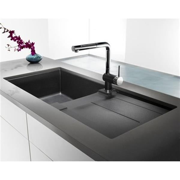 Blanco Metra X 19.75-in x 39.5-in Anthracite Silgranit Single Bowl Sink with Drainboard