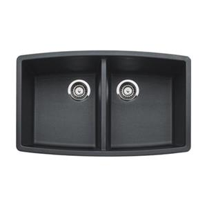 BLANCO Performa 20-in x 33-in Anthracite Silgranit Undermount Double Bowl Kitchen Sink