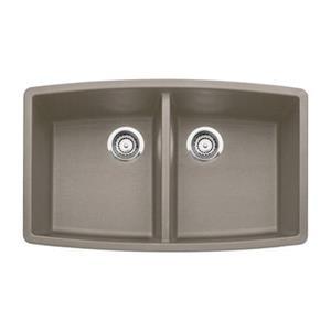 BLANCO Performa 20-in x 33-in Truffle Silgranit Undermount Double Bowl Kitchen Sink