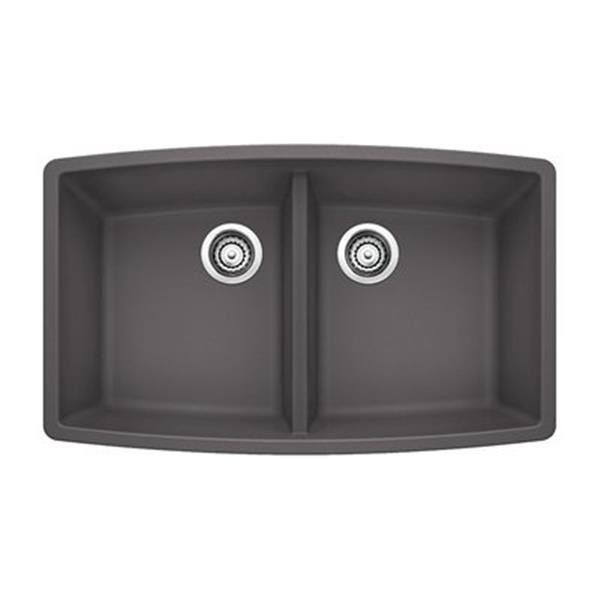 Blanco Performa 19-in x 33-in Cinder Silgranit Undermount Double Bowl Kitchen Sink