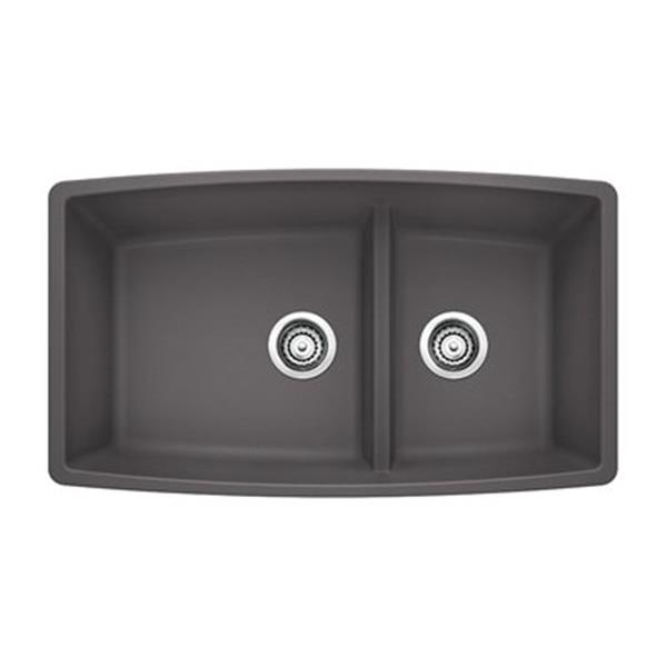 Blanco Performa 19-in x 33-in Cinder Silgranit Undermount Double Bowl Kitchen Sink