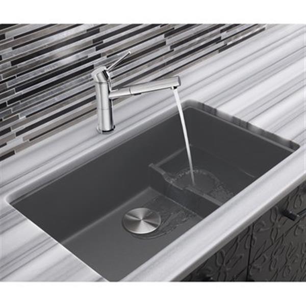 Blanco Precis Cascade 18-in x 28.75-in Cinder Silgranit Undermount Sink