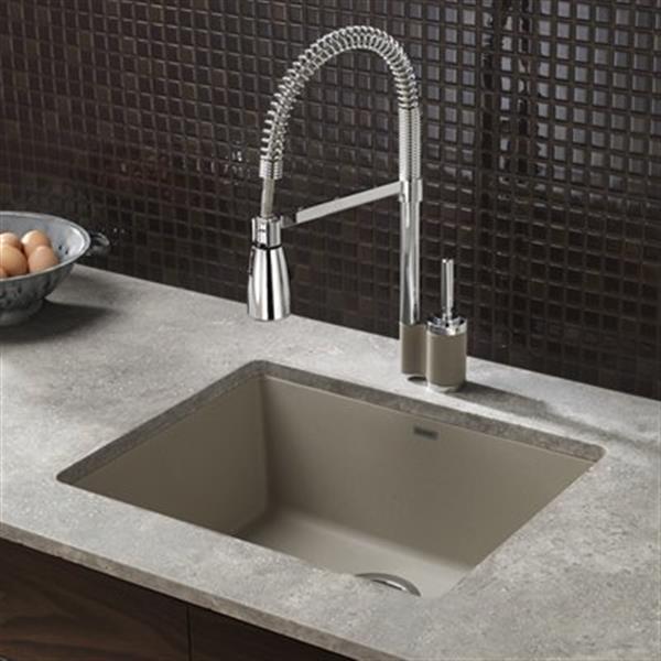 Blanco Precis 18-in x 20.75-in Truffle Silgranit Undermount Sink
