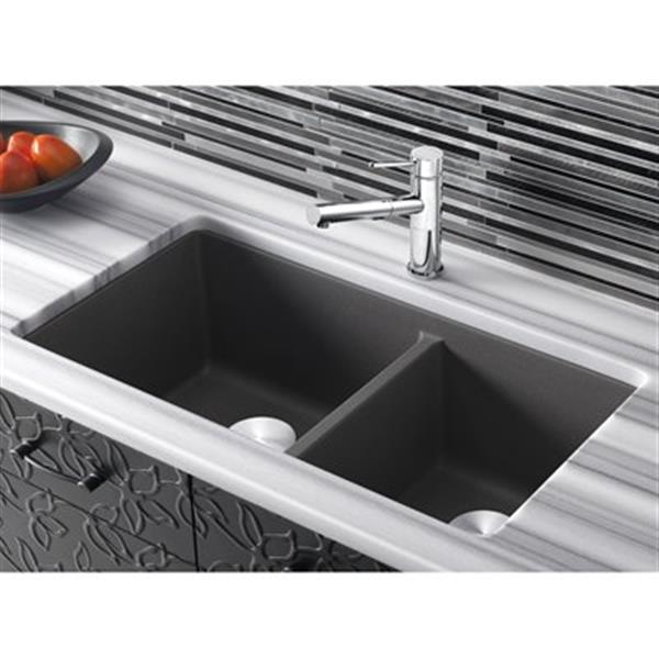 Blanco Precis 18-in x 33-in Cinder Silgranit Double Bowl Undermount Sink