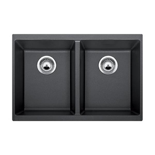 Blanco Precis 18.12-in x 29.75-in Anthracite Silgranit Double Bowl Undermount Sink