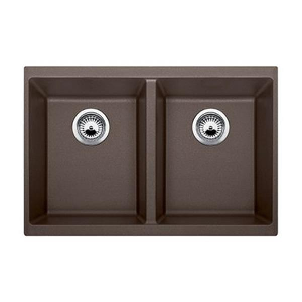 Blanco Precis 18.12-in x 29.75-in Cafe Silgranit Double Bowl Undermount Sink