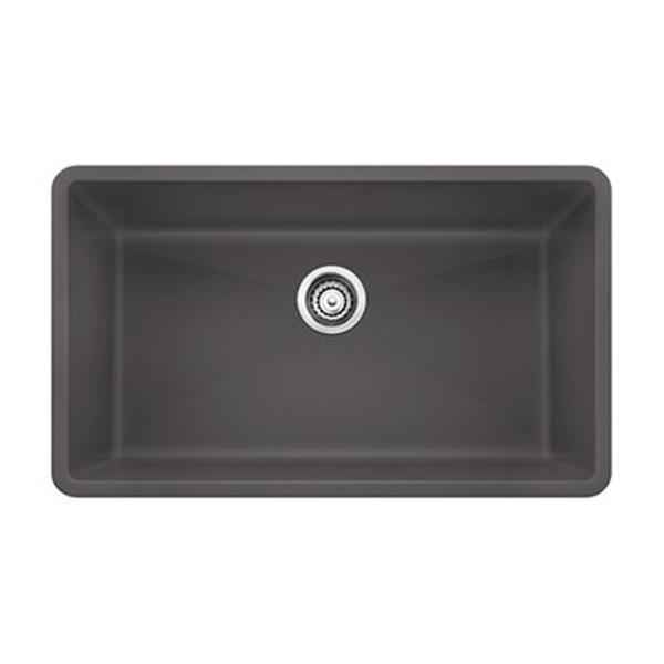 Blanco Precis 19-in x 32-in Cinder Maxi Silgranit Undermount Sink