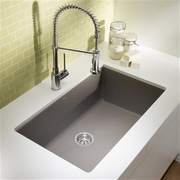 Blanco Precis 19-in x 32-in Truffle Maxi Silgranit Undermount Sink