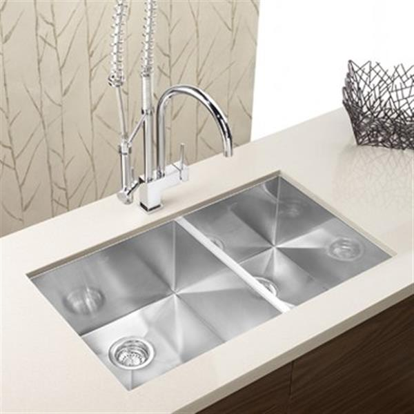Blanco Precision 18-in x 33-in Stainless Steel Offset Bowls Undermount Sink