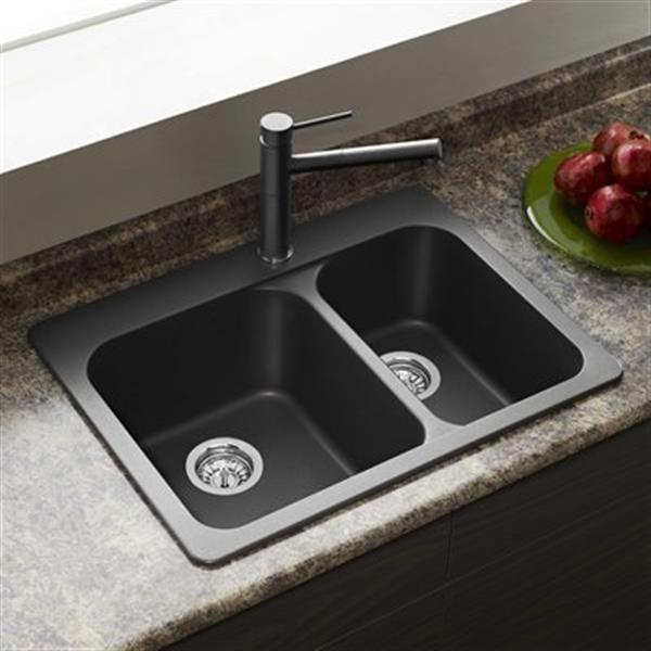 Blanco Vision 27.50-in x 20.50-in x 8-in Anthracite Silgranit Drop-in Offset Double Bowl Sink