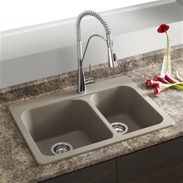 Blanco Vision 27.50-in x 20.50-in x 8-in Truffle Silgranit Drop-in Offset Double Bowl Sink