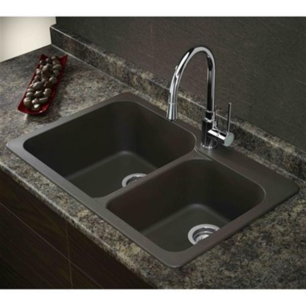 Blanco Vision 31.50-in x 20.50-in x 8-in Cafe Silgranit Drop-in Double Offset Bowl Sink