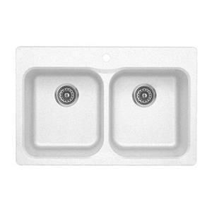 Blanco Vision Silgranit White 20.5-in x 31.5-in Drop-in Double Bowl Sink