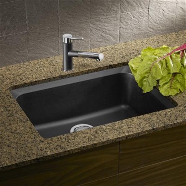 Blanco Vision Silgranit Anthracite 18-in x 24-in Undermount Sink