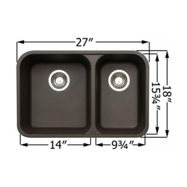 Blanco Vision Silgranit Anthracite 18-in x 27-in Double Bowl Undermount Sink