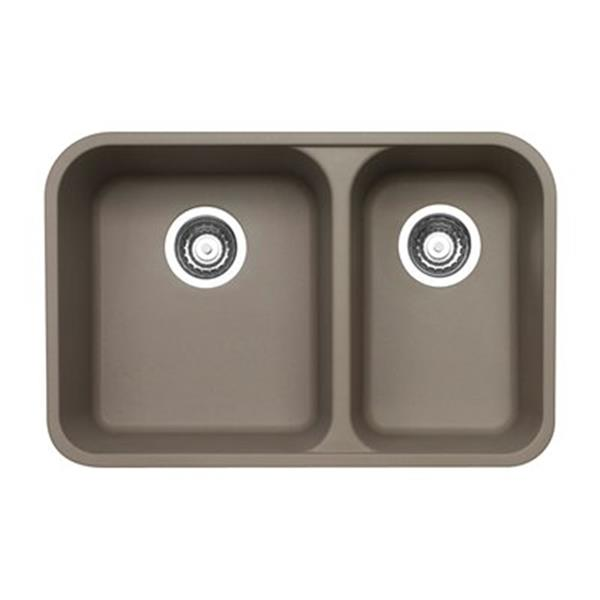 Blanco Vision Silgranit Truffle 18-in x 27-in Double Bowl Undermount Sink