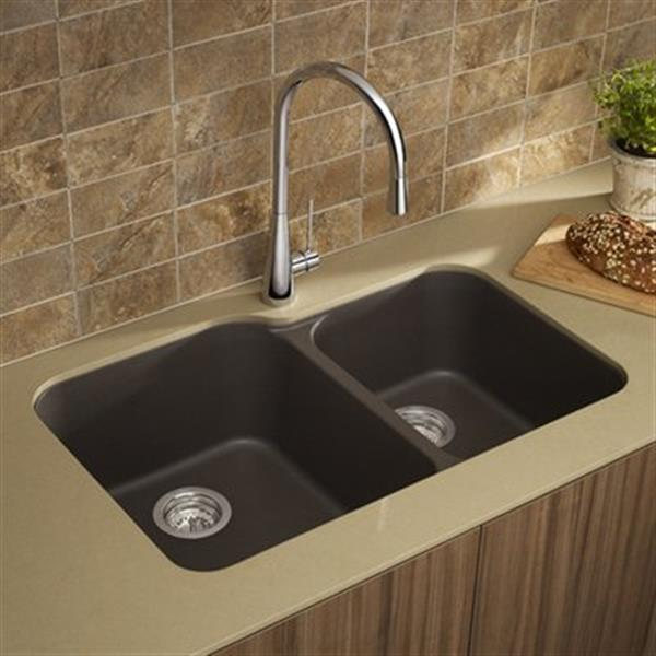 Blanco Vision Silgranit Cafe 19.75-in x 30.5-in Double Bowl Undermount Sink