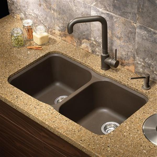 Blanco Vision Silgranit Cafe 17.50-in x 30.75-in Double Bowl Undermount Sink