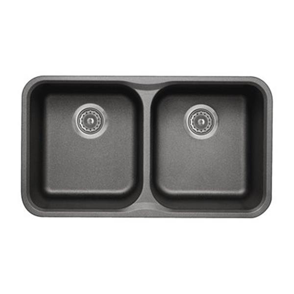 Blanco Vision Silgranit Cinder 17.5-in x 30.75-in Double Bowl Undermount Sink