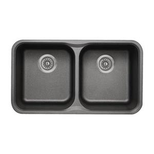 BLANCO Vision Silgranit Cinder 17.5-in x 30.75-in Double Bowl Undermount Sink