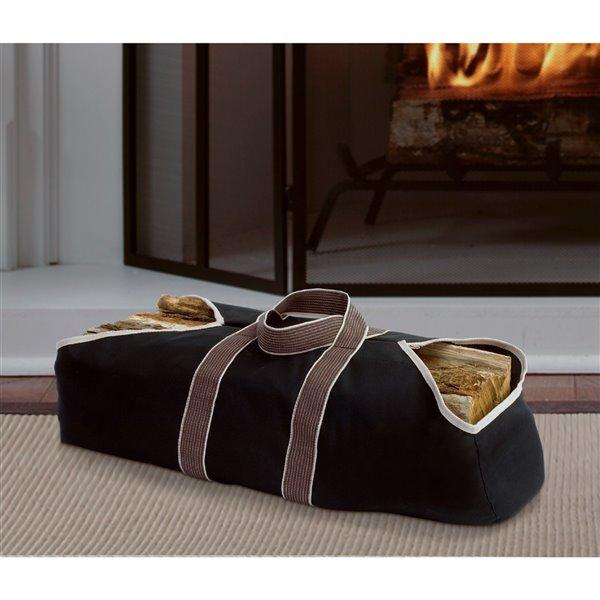 Pleasant Hearth Firewood Bag - Canvas - 36-in x 18-in - Black