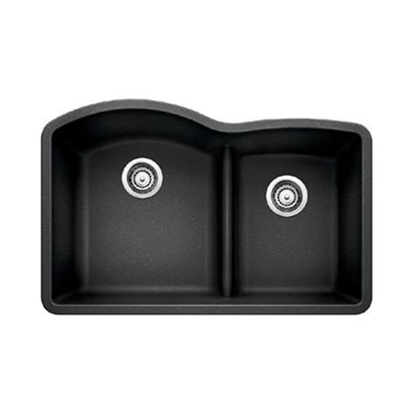 Blanco Gray 20.75-in x 32-in Diamond Low Divide Double Basin Sink
