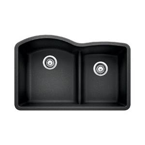 Blanco Gray 20.75-in x 32-in Diamond Low Divide Double Basin Sink