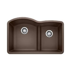 Blanco Brown 20.75-in x 45-in Diamond Low Divide Double Basin Sink
