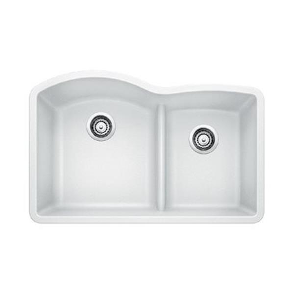 Blanco White 20.75-in x 32-in Diamond Low Divide Double Basin Sink