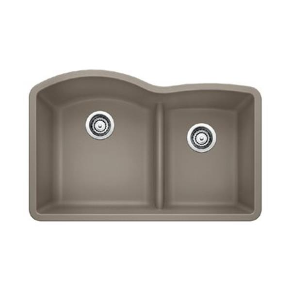 Blanco Diamond Brown 20.75-in x 32-in Low Divide Double Basin Sink